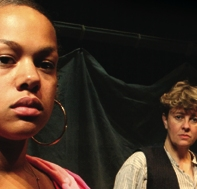 Nadine Wild Palmer playing Shelley in Crossings watched over by Heggarty played by Julie McNamara